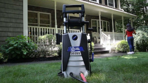 An electric power washer in the garden